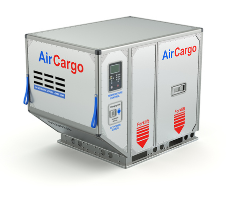 Air cargo container with metal pallet - 3D illustration