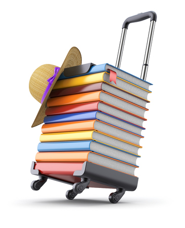 book case: 3D concept with books and hat on suitcase frame