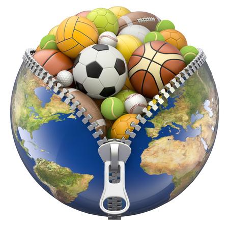 bol van de aarde met ritssluiting vol sport ballen op een witte achtergrond - 3D illustratie