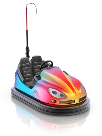 Colorful electric bumper car over white reflective background - 3d illustration Stock Photo