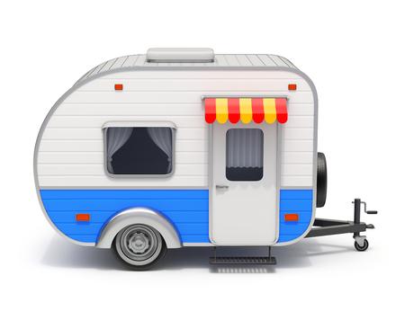 白い背景の 3 D イラストレーションの RV キャンピングカー トレーラー 写真素材