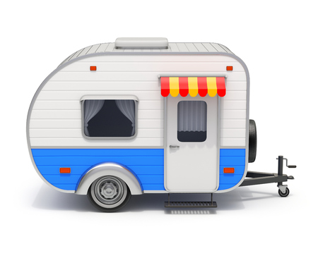 RV camper trailer on white background - 3D illustration