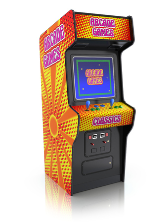 fun game: Colorful retro arcade game machine with abstract design - 3d illustration Stock Photo