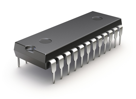 microcontroller: Electronic integrated chip (microchip or microcircuit) on white background - 3D illustration