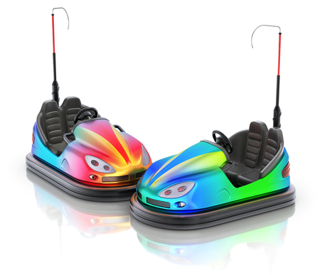 double game: Pair of colorful electric bumper car over white reflective background - 3d illustration