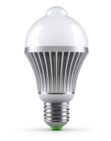 e27: LED bulb with PIR motion sensor (detector) on white background - 3D illustration Stock Photo