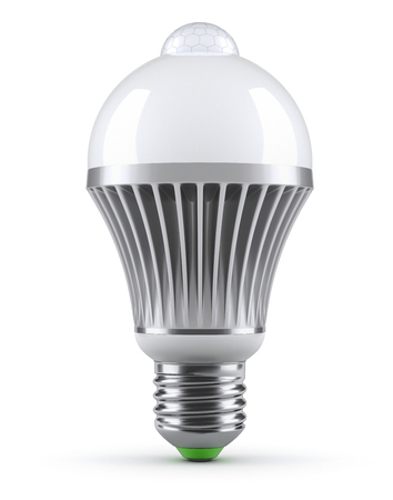 LED bulb with PIR motion sensor (detector) on white background - 3D illustration Stock Photo