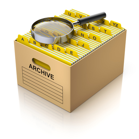 storage box: Storage box with magnifying glass and divider tabs - 3D illustration