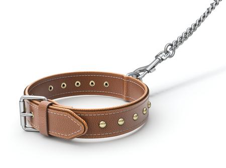 gatillo: collar de perro de cuero con gancho de disparo y la cadena - ilustración 3D
