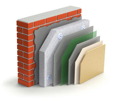 흰색 배경에 계층화 된 벽돌 벽 단열 개념 - 3D 그림
