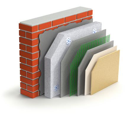 esquema: pared de ladrillo concepto de aislamiento térmico en capas sobre fondo blanco - 3d ilustración