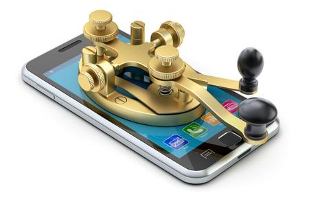 Concept de communication avec le code morse dispositif de télégraphie sur le téléphone mobile - illustration 3D