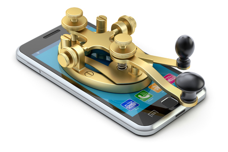 telegrama: Concepto de comunicación con código morse dispositivo de la telegrafía en el teléfono móvil - ilustración 3D