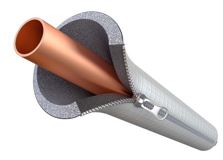 insulate: Copper pipe insulating concept with the zipper - 3D illustration Stock Photo