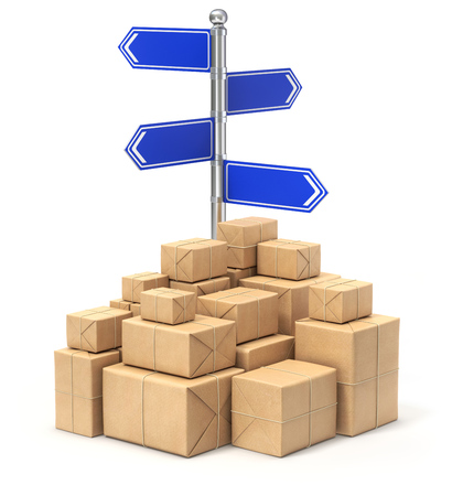 despatch: Signpost with four arrows and post packages - 3D illustration
