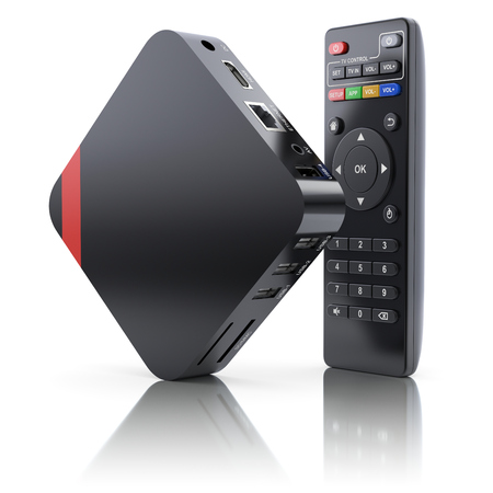 box: Multimedia and TV box receiver and player with remote controller - 3D illustration