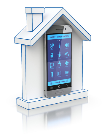 wireless telephone: Remote centralized home control system with 3D house icon and the mobile - 3D illustration