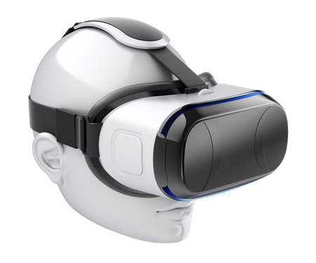Virtual reality headset on white human head isolated on white background - 3D illustration