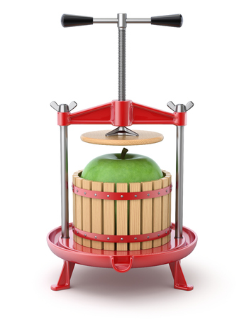 wine red: Traditional red fruit press with green apple inside - 3D illustration Stock Photo