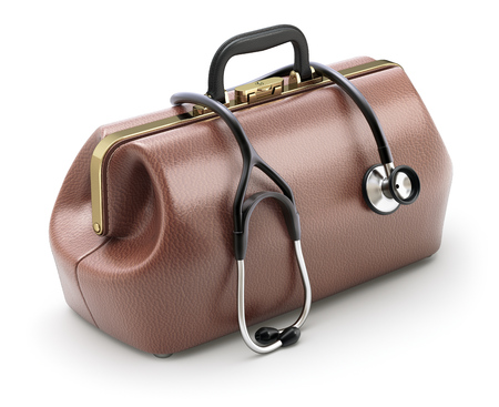 brown leather: Retro brown leather doctors bag with the stethoscope - 3D illustration