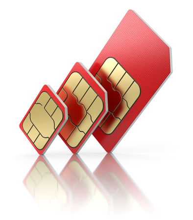 telecommunications technology: SIM card  in different sizes, standard, micro and nano - 3D illustration
