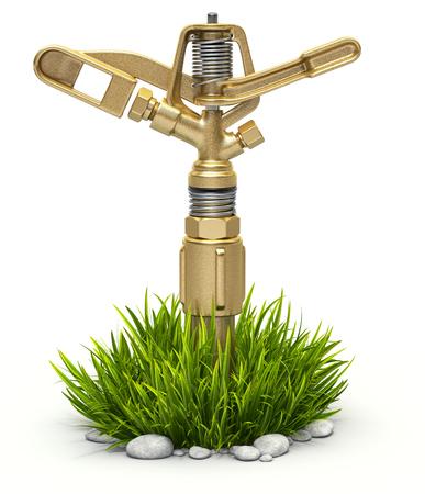 Garden brass water sprinkler on bush grass over white background - 3D illustration