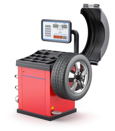 wheel balancing: Wheel balancing machine on white background - 3D illustration