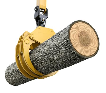 tronco: elevación de la grúa amarilla con el agarre de la garra sostiene el árbol de roble - ilustración 3D Foto de archivo