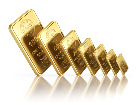 white bars: Small gold bars with different sizes on white reflective background - 3D illustration Stock Photo