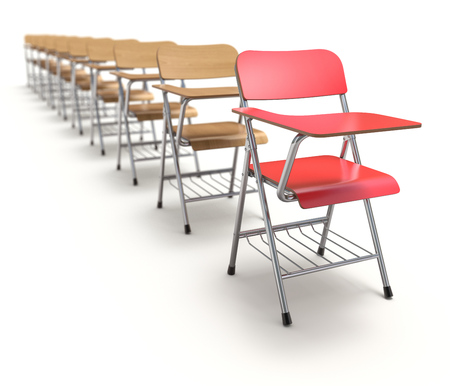 schooldesk: Row of wooden student chair with desk and armrest on white floor - 3D illustration
