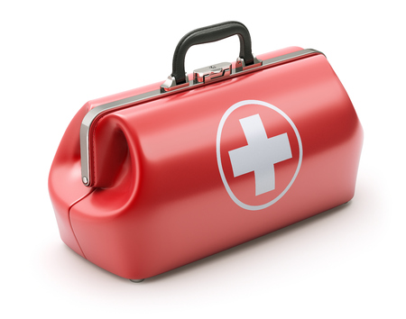 rescue: First aid kit in retro red doctors bag - 3D illustration
