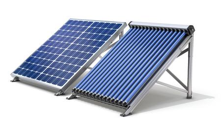 Zonnepaneel generator en zonneboiler op een witte achtergrond - 3D illustratie Stockfoto