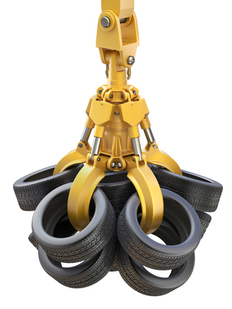 junkyard: Industrial mechanical claw with tires isolated on white background - 3D illustration