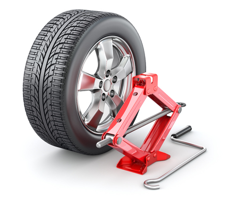 Car wheel with red scissor jack on white background - 3D illustration Stock Photo