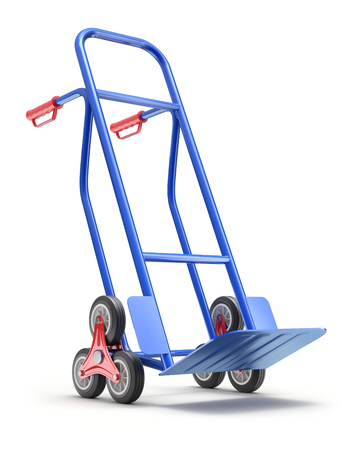 Blue stair climbing hand truck with six wheels - 3D illustration Stock Photo