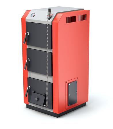 auger: Solid fuel burning boiler on white background - 3D illustration