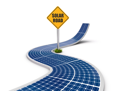 Highway made from the solar panels - 3D illustration