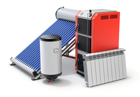 Elementen van verwarmingssysteem met geëvacueerd zonneboiler, boilers en radiator - 3D illustratie