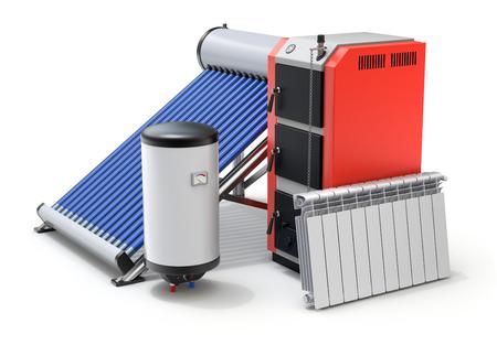 Elementen van verwarmingssysteem met geëvacueerd zonneboiler, boilers en radiator - 3D illustratie Stockfoto - 72448185