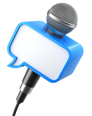 tweeting: Microphone with speech bubble box isolated on a white background - 3D illustration