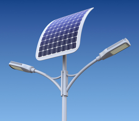 sunbeam background: Modern LED street lamp with solar panel - 3D illustration