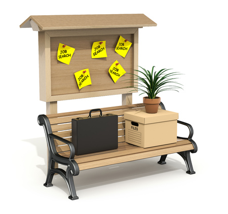 storage box: Briefcase, storage box and pot with plant on the park bench with wooden board - 3D illustration