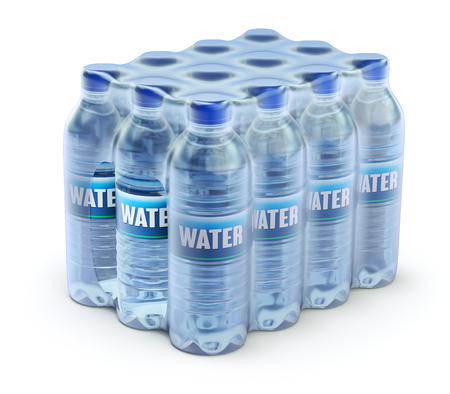 PET packed bottled water - 3D illustration