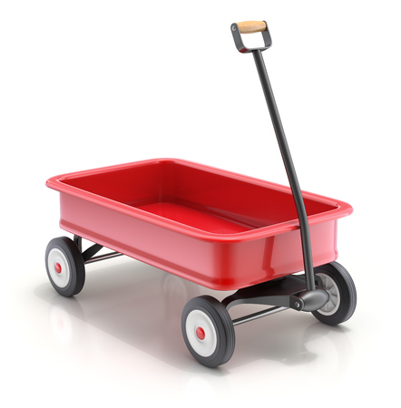 Vintage childs toy mini wagon on white background - 3D illustration