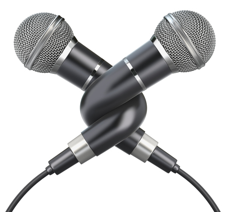 duet: Knotted microphones isolated on a white background - 3D illustration Stock Photo