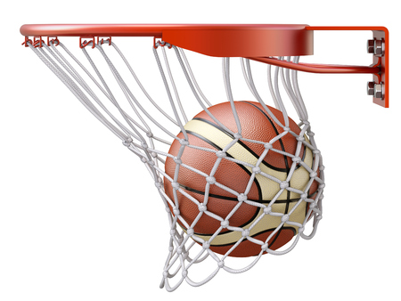 Basketball going into the basket hoop - 3D illustration