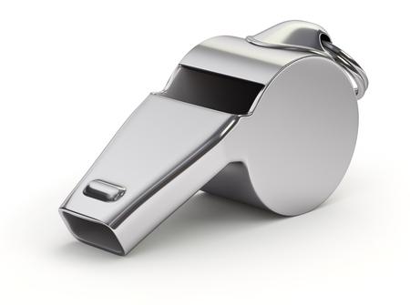 Sifflet de métal sur fond blanc - illustration 3D