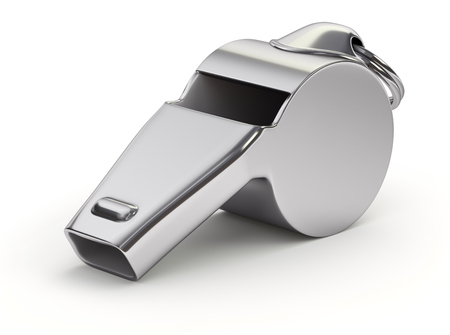 Metal whistle on white background - 3D illustration