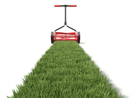 Lawn mower and grass path - 3D illustration