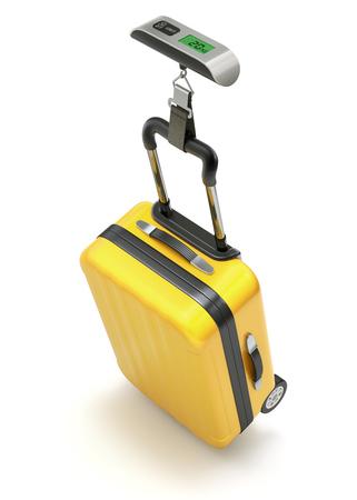 Cassa gialla sulla bilancia elettronica digitale dei bagagli - illustrazione 3D Archivio Fotografico - 79128540